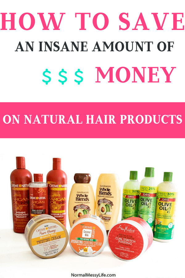 A set of natural hair products: Creme of Nature, Shea Moisture, Garnier Whole Blends and the Organic Root Stimulator (ORS)