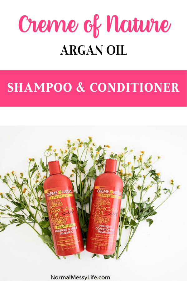 Creme of Nature Argan Oil Moisture & Shine Shampoo with the Argan Oil Intensive Conditioning Treatment on spanish needle